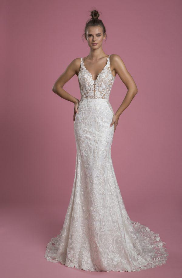 Sleeveless V-neck Lace Sheath Wedding Dress by P by Pnina Tornai - Image 1