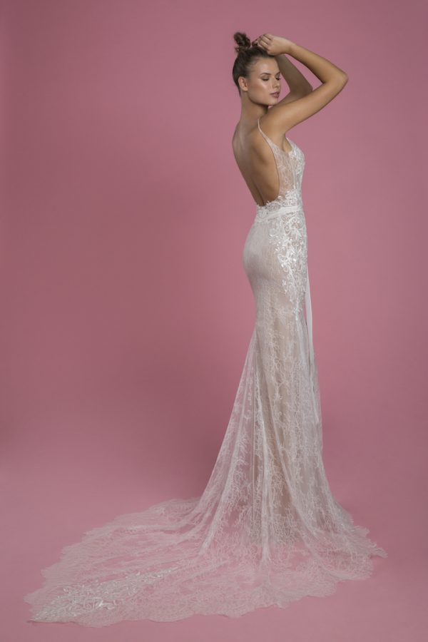 Sleeveless V-neck Lace Sheath Wedding Dress With Embroidered Lace Applique by P by Pnina Tornai - Image 2