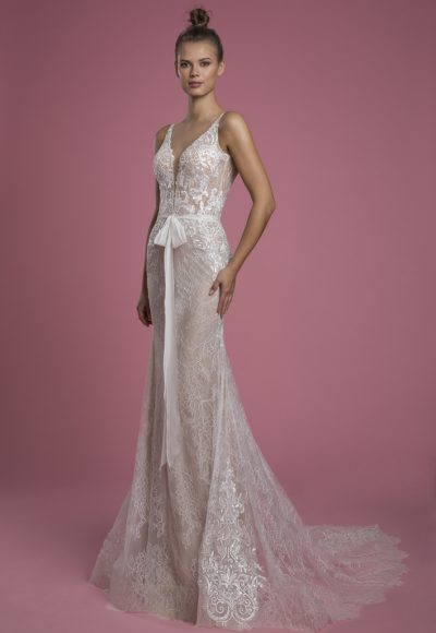 Sleeveless V-neck Lace Sheath Wedding Dress With Embroidered Lace Applique by P by Pnina Tornai