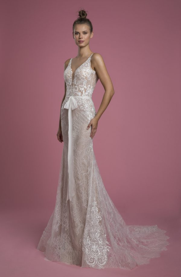 Sleeveless V-neck Lace Sheath Wedding Dress With Embroidered Lace Applique by P by Pnina Tornai - Image 1