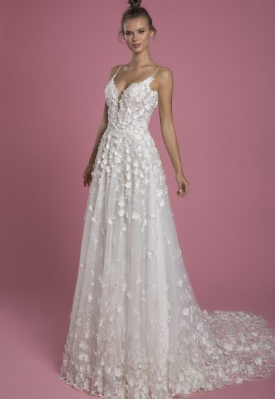 Spaghetti Strap A-line Lace Wedding Dress With 3d Flowers by P by Pnina Tornai