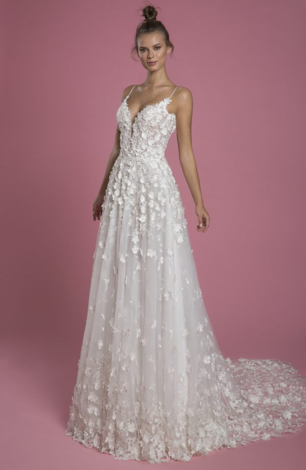 Spaghetti Strap A-line Lace Wedding Dress With 3d Flowers by P by Pnina Tornai - Image 1