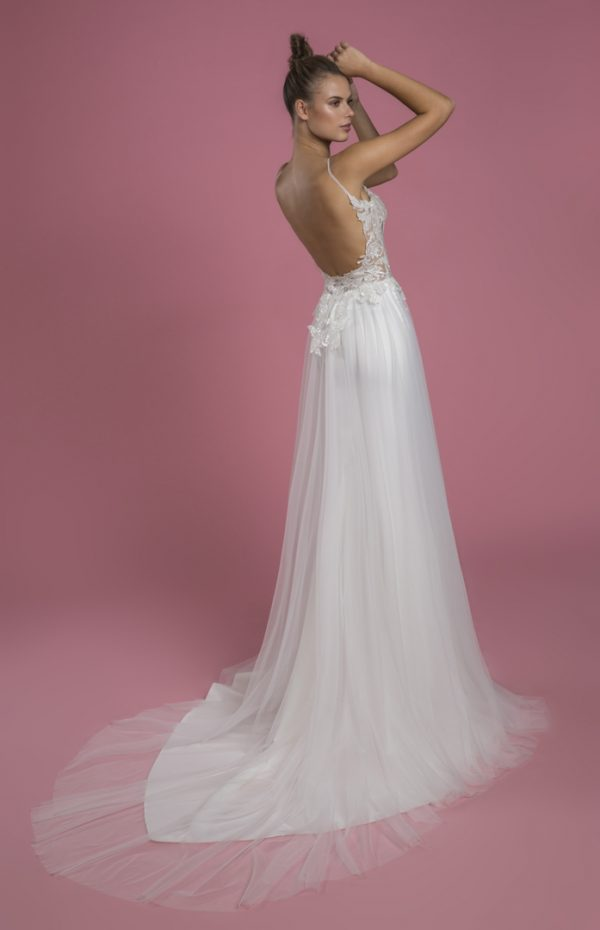Spaghetti Strap Sheath Wedding Dress With Sequin Bodice And Satin Skirt With Tulle Overlay by P by Pnina Tornai - Image 2