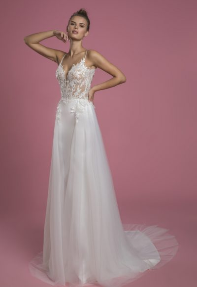 Spaghetti Strap Sheath Wedding Dress With Sequin Bodice And Satin Skirt With Tulle Overlay by P by Pnina Tornai