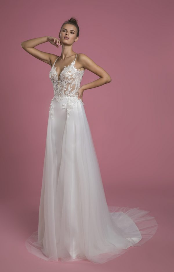 Spaghetti Strap Sheath Wedding Dress With Sequin Bodice And Satin Skirt With Tulle Overlay by P by Pnina Tornai - Image 1
