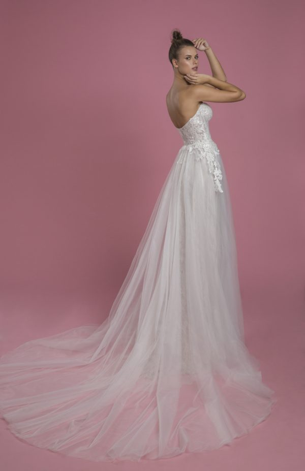 Strapless A-line Sequin Wedding Dress With Lace Underlay And Tulle Skirt by P by Pnina Tornai - Image 2