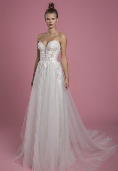 Strapless A-line Sequin Wedding Dress With Lace Underlay And Tulle Skirt by P by Pnina Tornai