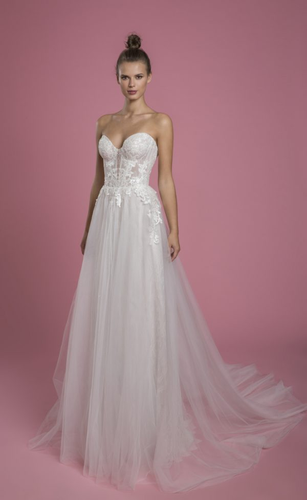 Strapless A-line Sequin Wedding Dress With Lace Underlay And Tulle Skirt by P by Pnina Tornai - Image 1