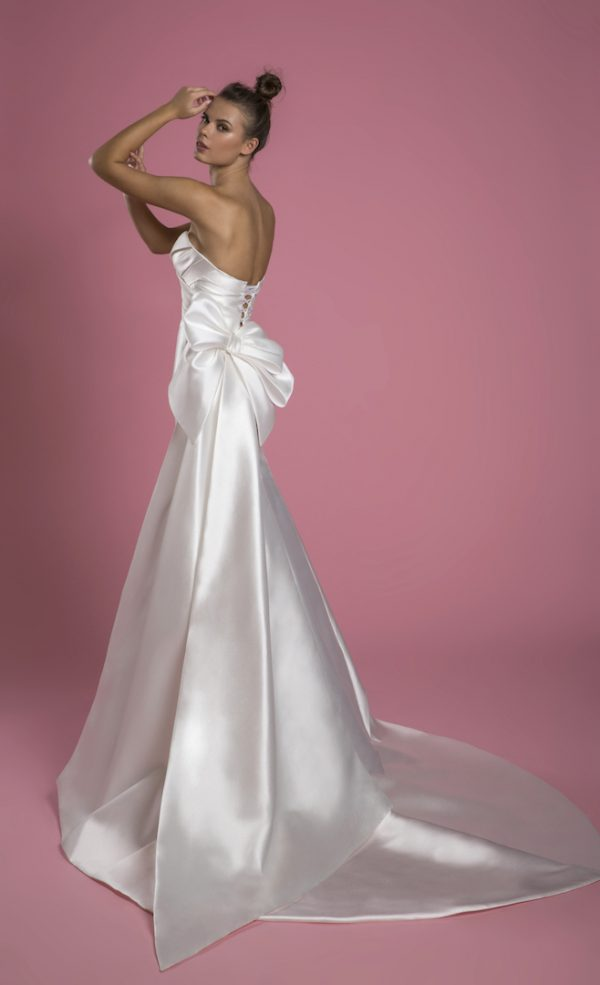 Strapless Mikado Fit And Flare Wedding Dress With Draped Bodice And Bow by P by Pnina Tornai - Image 2