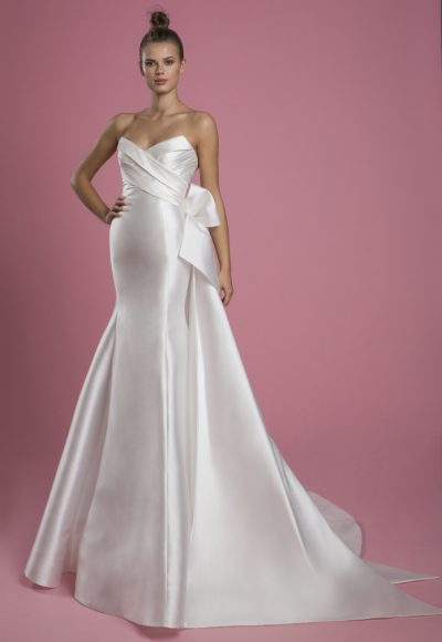 Strapless Mikado Fit And Flare Wedding Dress With Draped Bodice And Bow by P by Pnina Tornai