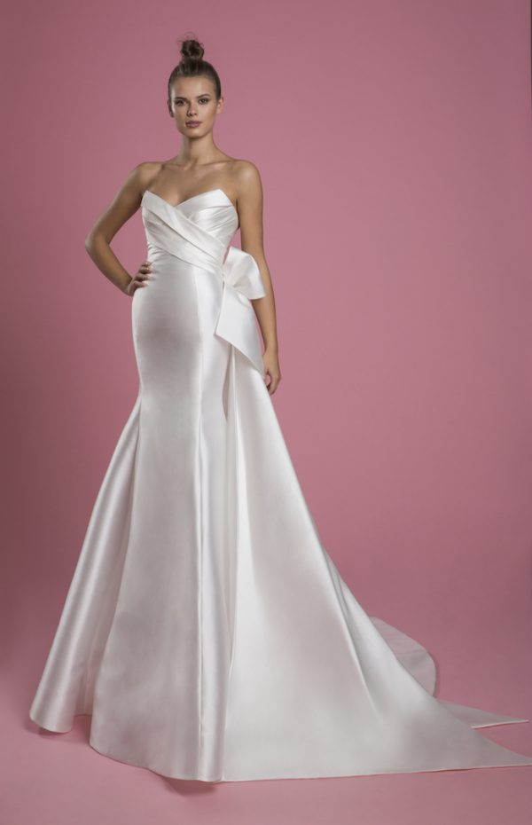 Strapless Mikado Fit And Flare Wedding Dress With Draped Bodice And Bow by P by Pnina Tornai - Image 1