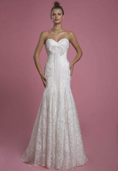Strapless Sweetheart Fit And Flare Lace Wedding Dress With Bow by P by Pnina Tornai