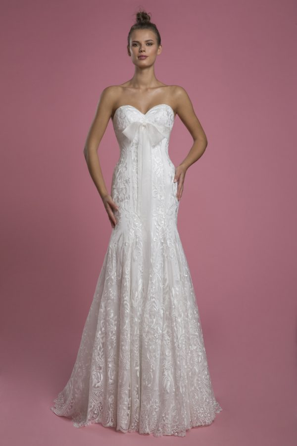 Strapless Sweetheart Fit And Flare Lace Wedding Dress With Bow by P by Pnina Tornai - Image 1