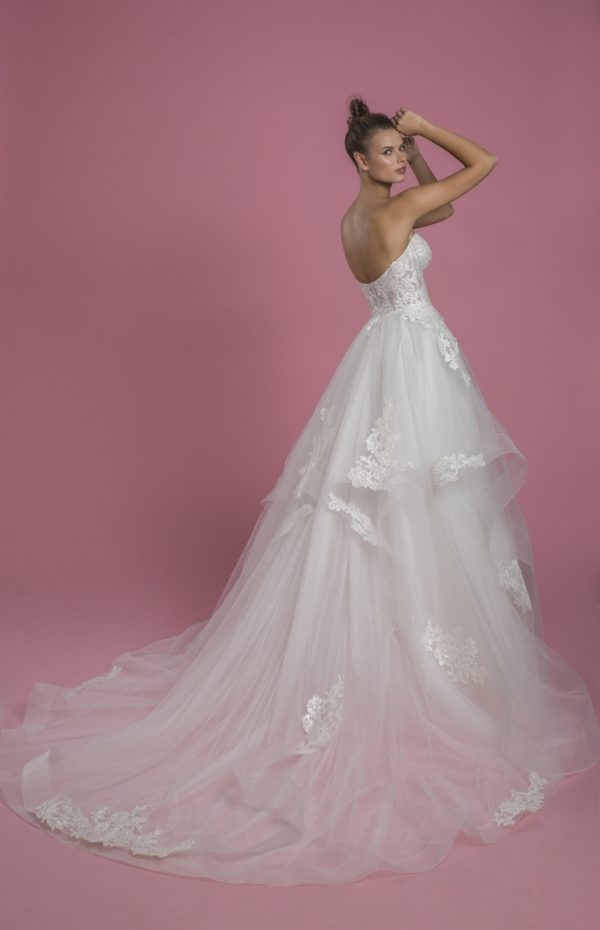 Strapless Sweetheart Neckline Ball Gown Layered Tulle Skirt Wedding Dress With Lace Bodice by P by Pnina Tornai - Image 2