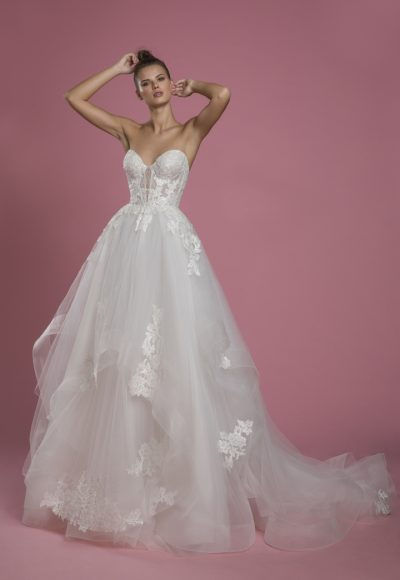 Strapless Sweetheart Neckline Ball Gown Layered Tulle Skirt Wedding Dress With Lace Bodice by P by Pnina Tornai