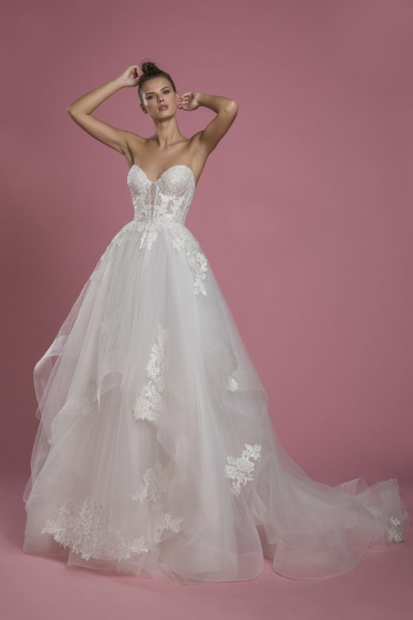 Strapless Sweetheart Neckline Ball Gown Layered Tulle Skirt Wedding Dress With Lace Bodice by P by Pnina Tornai - Image 1