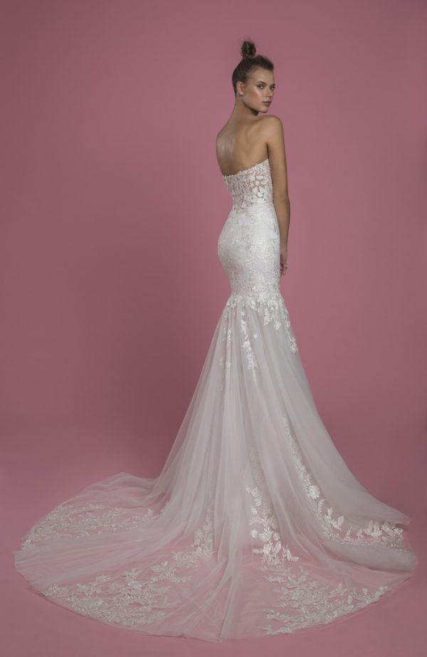Strapless Sweetheart Neckline Mermaid Lace Wedding Dress With Tulle Skirt by P by Pnina Tornai - Image 2