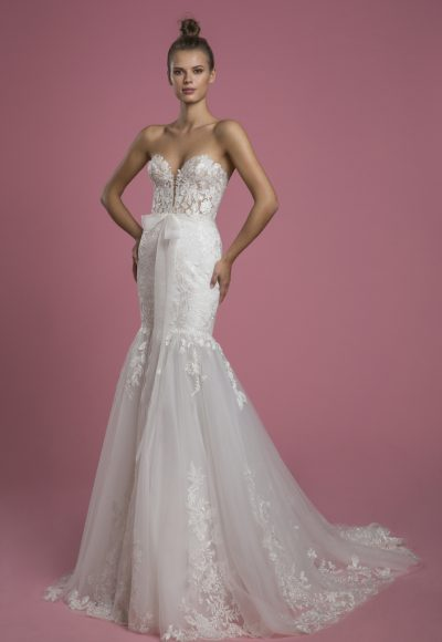 Strapless Sweetheart Neckline Mermaid Lace Wedding Dress With Tulle Skirt by P by Pnina Tornai