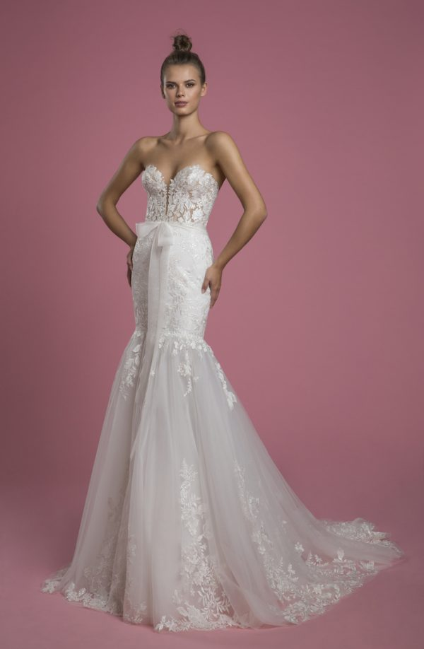 Strapless Sweetheart Neckline Mermaid Lace Wedding Dress With Tulle Skirt by P by Pnina Tornai - Image 1