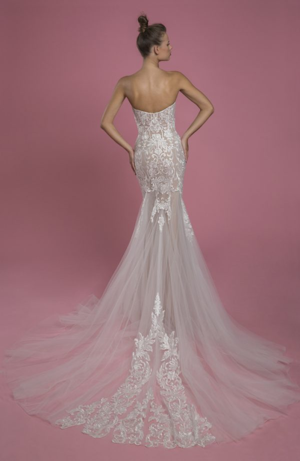 Strapless Sweetheart Neckline Mermaid Wedding Dress With Lace Applique And Tulle Skirt by P by Pnina Tornai - Image 2