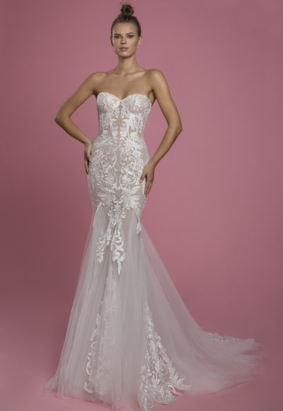 Strapless Sweetheart Neckline Mermaid Wedding Dress With Lace Applique And Tulle Skirt by P by Pnina Tornai