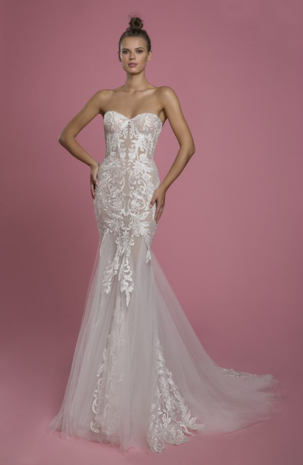 Strapless Sweetheart Neckline Mermaid Wedding Dress With Lace Applique And Tulle Skirt by P by Pnina Tornai - Image 1