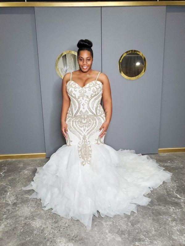 Spaghetti Strap Sweetheart Neckline Beaded Mermaid Wedding Dress by Pantora Bridal - Image 1