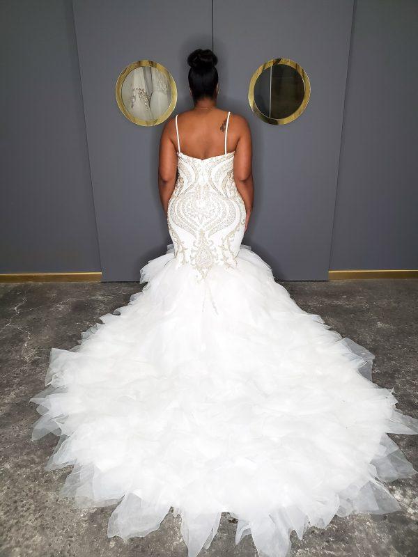 Spaghetti Strap Sweetheart Neckline Beaded Mermaid Wedding Dress by Pantora Bridal - Image 2