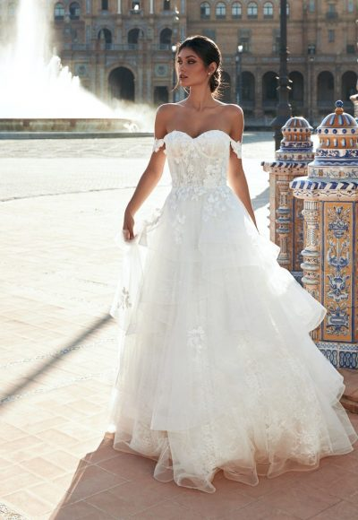 A-line Open-back Wedding Dress With Sweetheart Neckline, Drop Sleeves And Lace by Marchesa for Pronovias