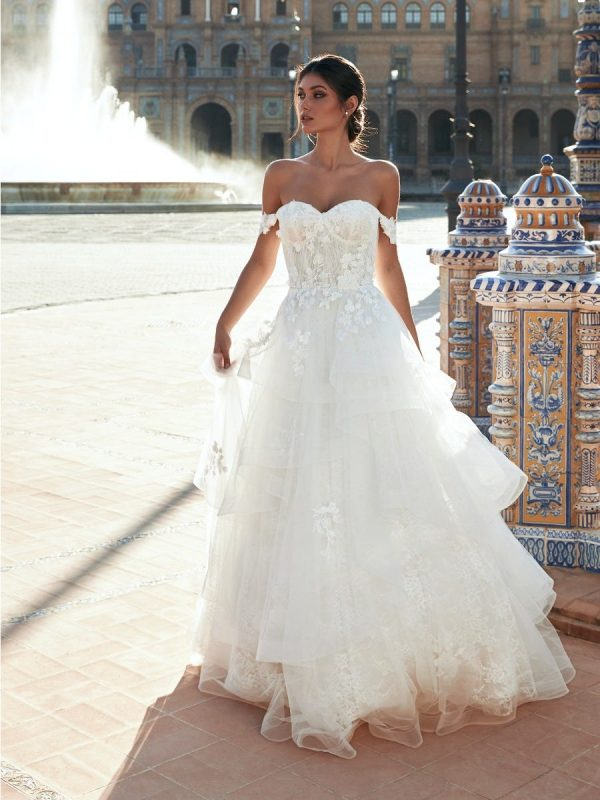 A-line Open-back Wedding Dress With Sweetheart Neckline, Drop Sleeves And Lace by Marchesa for Pronovias - Image 1