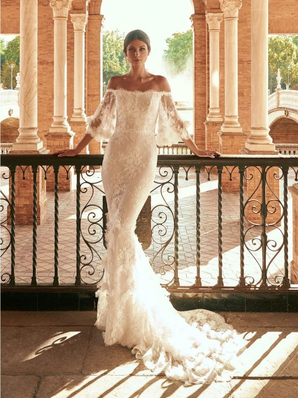 Mermaid Strapless Open-back Wedding Dress With Lace by Marchesa for Pronovias - Image 1