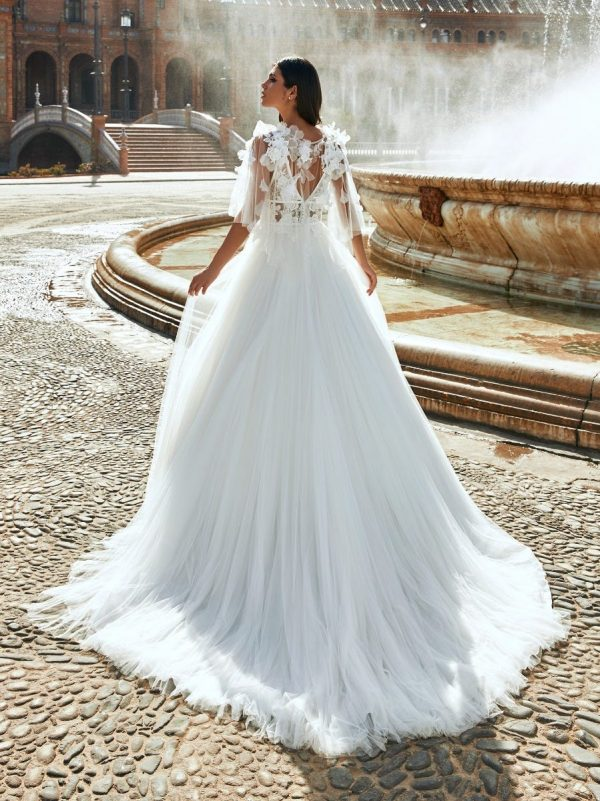 Princess Sleeveless Wedding Dress With Plunging Neckline And Lace by Marchesa for Pronovias - Image 2