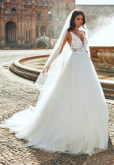 Princess Sleeveless Wedding Dress With Plunging Neckline And Lace by Marchesa for Pronovias