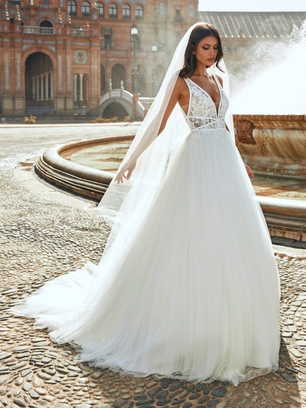 Princess Sleeveless Wedding Dress With Plunging Neckline And Lace by Marchesa for Pronovias - Image 1