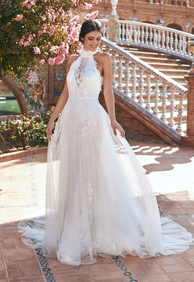 Sheath Open-back Halter Wedding Dress With Lace by Marchesa for Pronovias