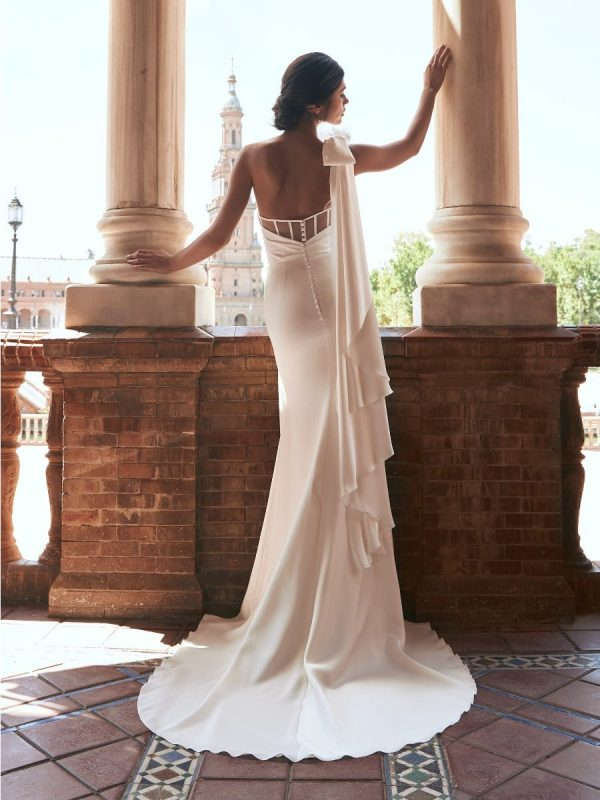 Straight Wedding Dress With Asymmetrical Neckline And Back by Marchesa for Pronovias - Image 2