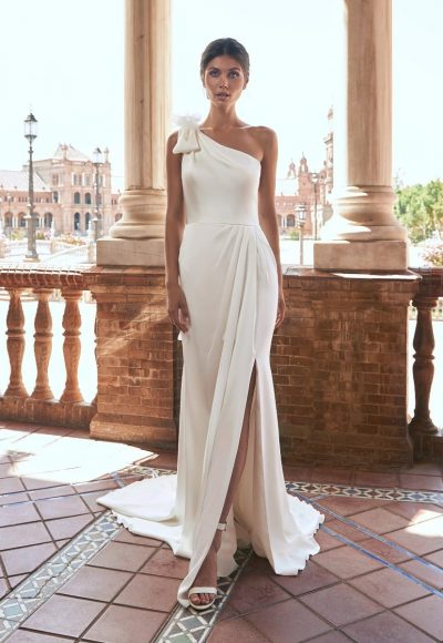 Straight Wedding Dress With Asymmetrical Neckline And Back by Marchesa for Pronovias