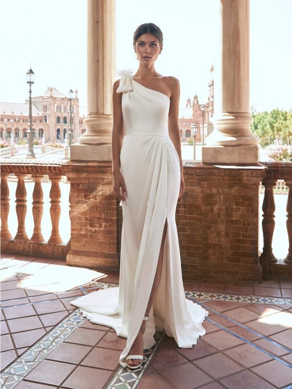 Straight Wedding Dress With Asymmetrical Neckline And Back by Marchesa for Pronovias - Image 1