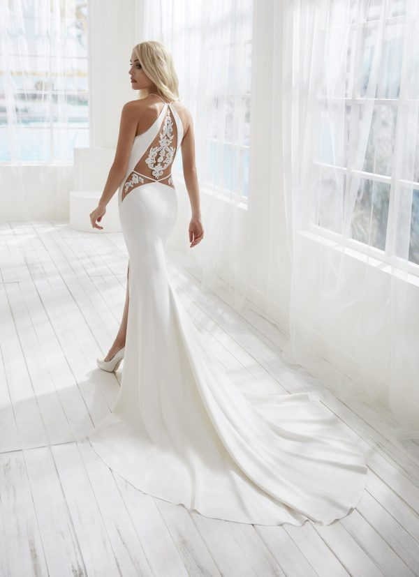 Halter Neckline Crepe Fit And Flare Wedding Dress With Slit by Randy Fenoli - Image 2