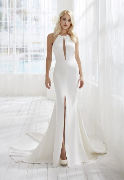 Halter Neckline Crepe Fit And Flare Wedding Dress With Slit by Randy Fenoli