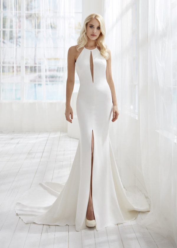 Halter Neckline Crepe Fit And Flare Wedding Dress With Slit by Randy Fenoli - Image 1