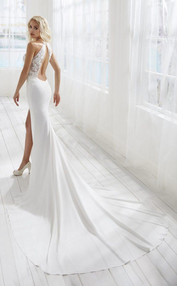 Halter Neckline Sheath Wedding Dress With Keyhole Detail by Randy Fenoli - Image 2