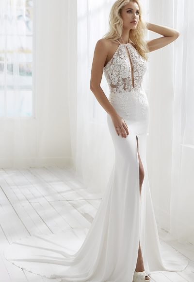 Halter Neckline Sheath Wedding Dress With Keyhole Detail by Randy Fenoli