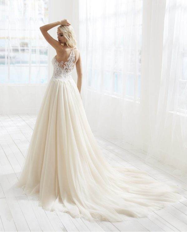 Illusion Neckline Dropped Waist Ball Gown Wedding Dress by Randy Fenoli - Image 2
