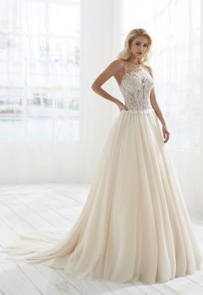 Illusion Neckline Dropped Waist Ball Gown Wedding Dress by Randy Fenoli
