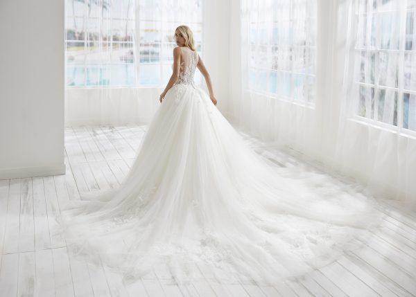 Ilusion Neckline Basque Waist Ball Gown Wedding Dress by Randy Fenoli - Image 2