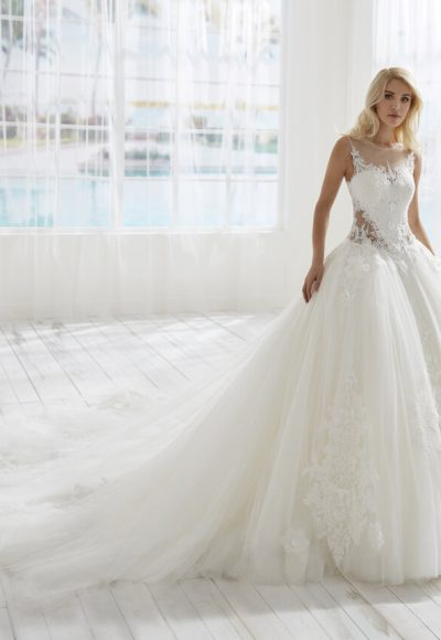 Ilusion Neckline Basque Waist Ball Gown Wedding Dress by Randy Fenoli