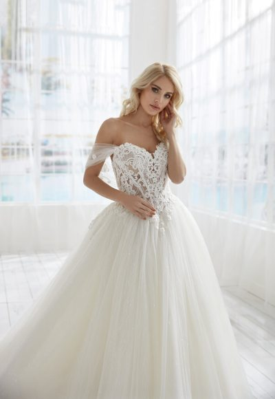 Off The Shoulder Basque Waist Ball Gown Wedding Dress by Randy Fenoli