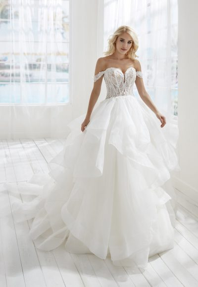 Off The Shoulder Sweetheart Neckline Ball Gown Wedding Dress With Ruffle Skirt by Randy Fenoli