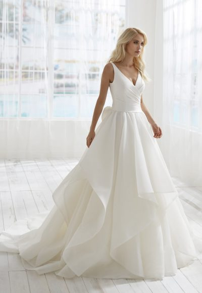 Sleeveless V-neckline A-line Wedding Dress With Bow Detailing by Randy Fenoli